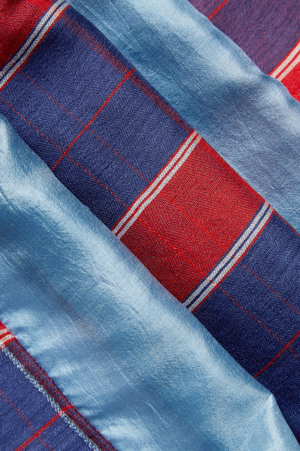 The River of Life - Long Blue Silk Woolen Scarf