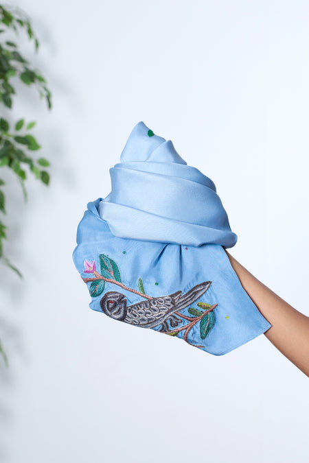 An Elusive Bird - Blue Ombre Twill Silk Square Scarf