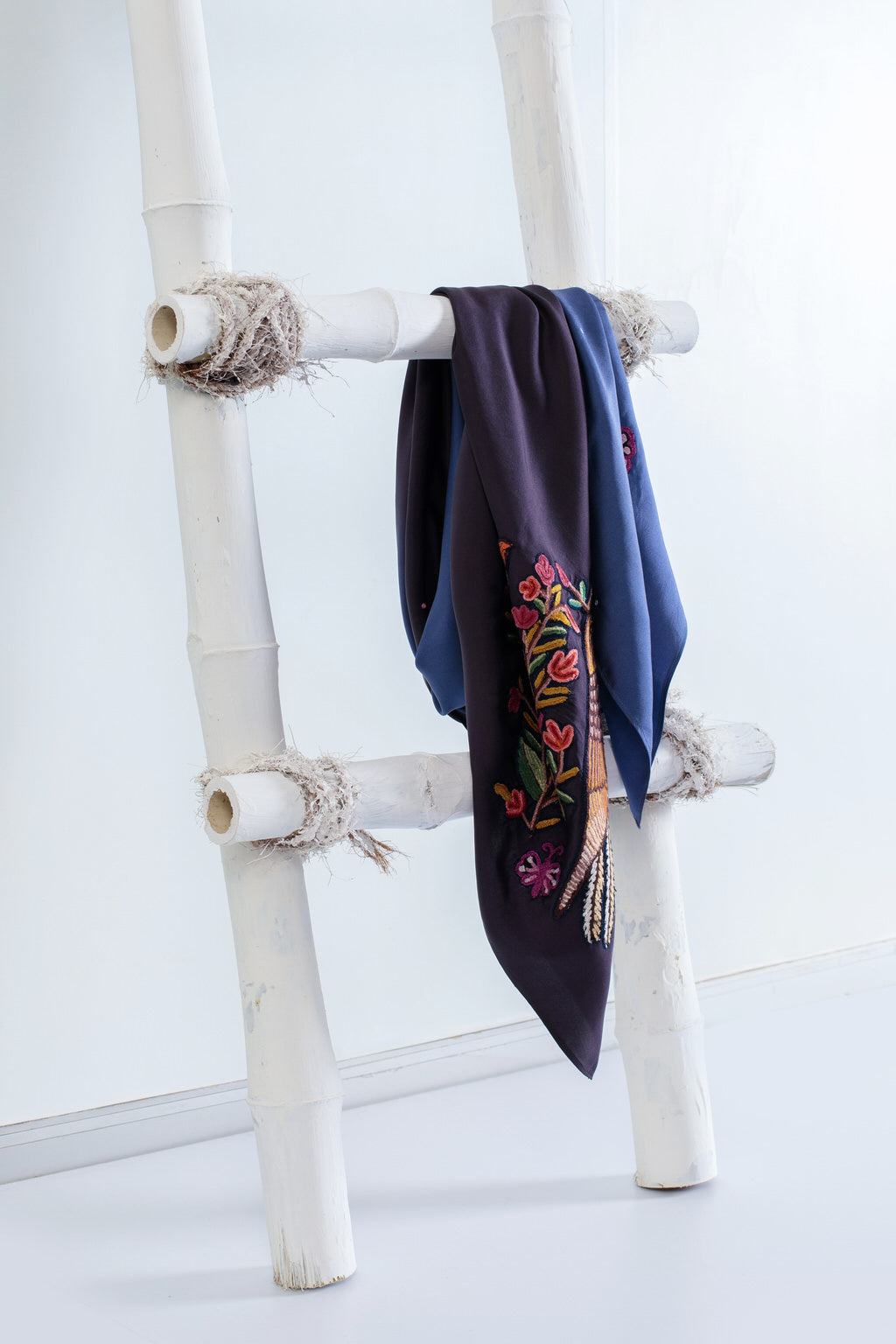Birds in a Blooming Garden - Dark Blue Ombre Twill Silk Square Scarf