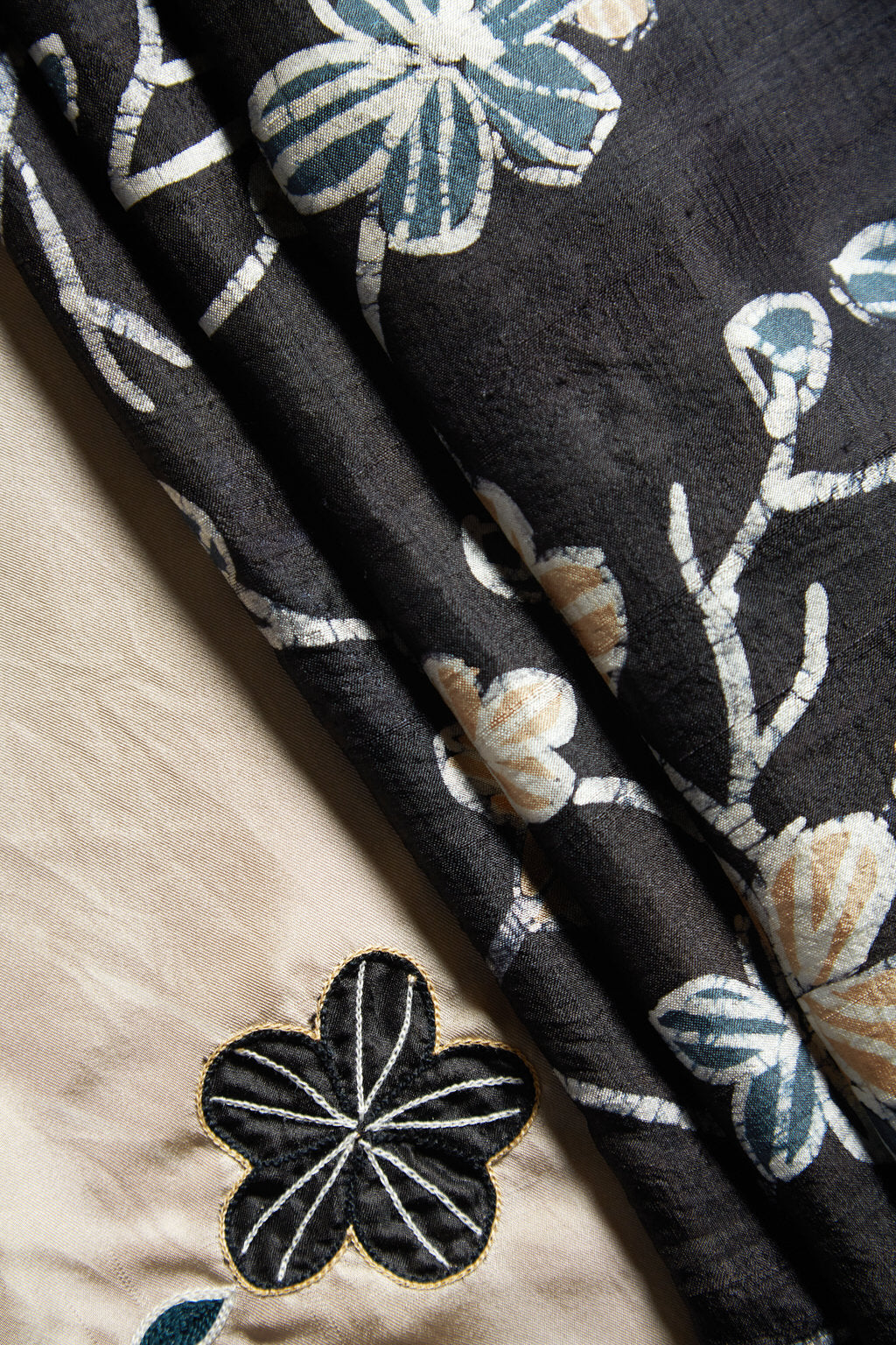 A Garden of Delight - Batik Print Black Silk Square Scarf