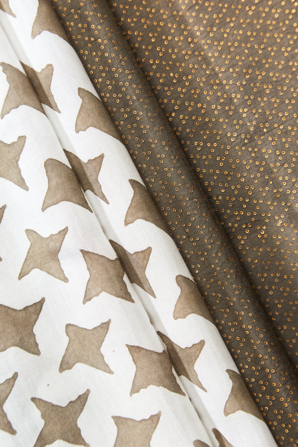 Star - Spangled Sky - Long Brown Cotton Silk Scarf