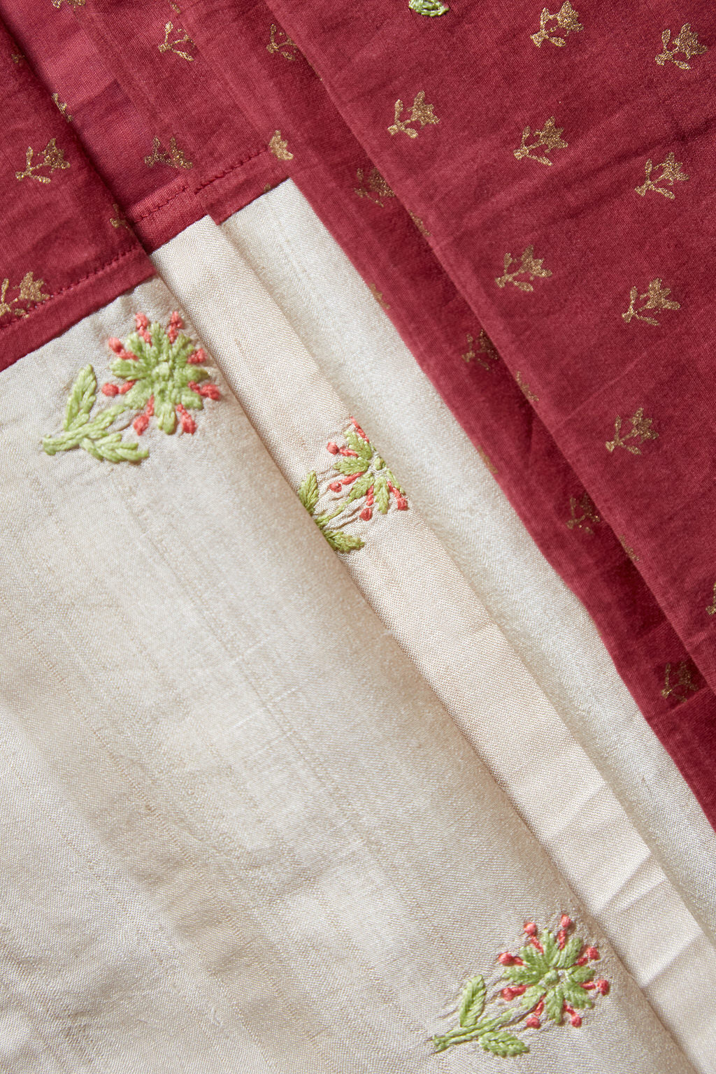 Pure Elegance - Long Embroidered Rose Pink Cotton Silk Face Wrap & Scarf