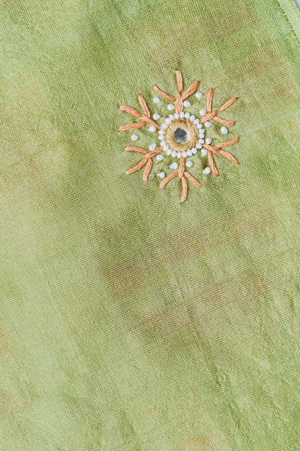 Divine Beauty - Reversible - Long Olive & Peach Silk Scarf