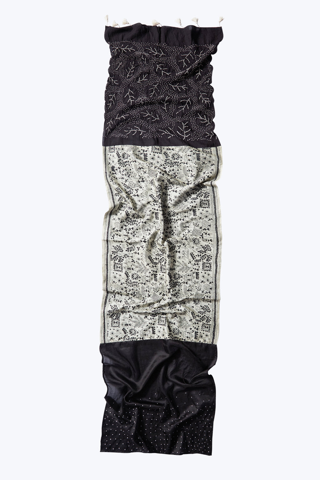 A Celebration of Life - Long Black & White Silk Scarf