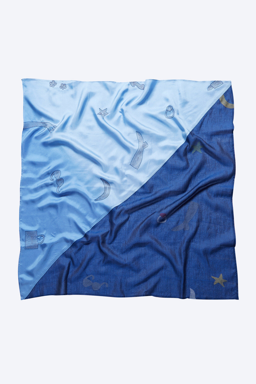 Mysteries of the Ocean - Blue Cotton Silk Square Scarf