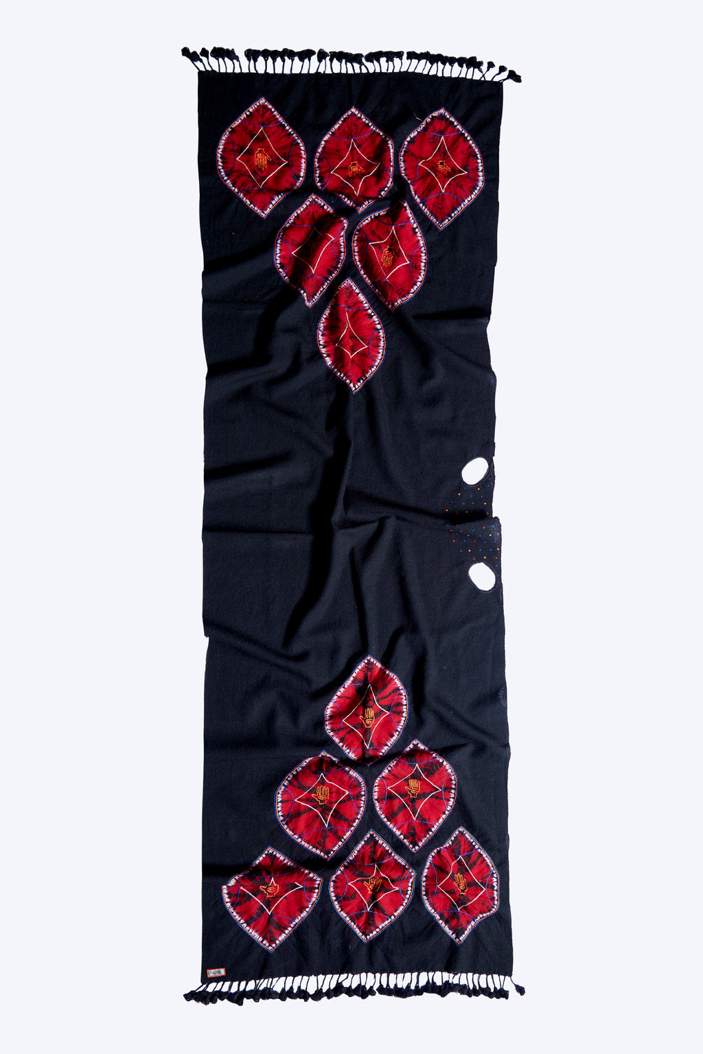 A Rarity - Long Black & Crimson Red Woolen Scarf & Face Wrap
