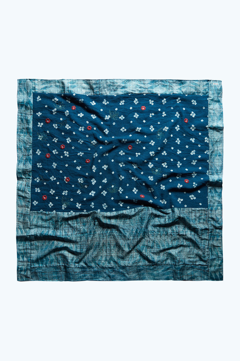 Beyond Words - Turquoise Tussar Silk & Wool Square Scarf