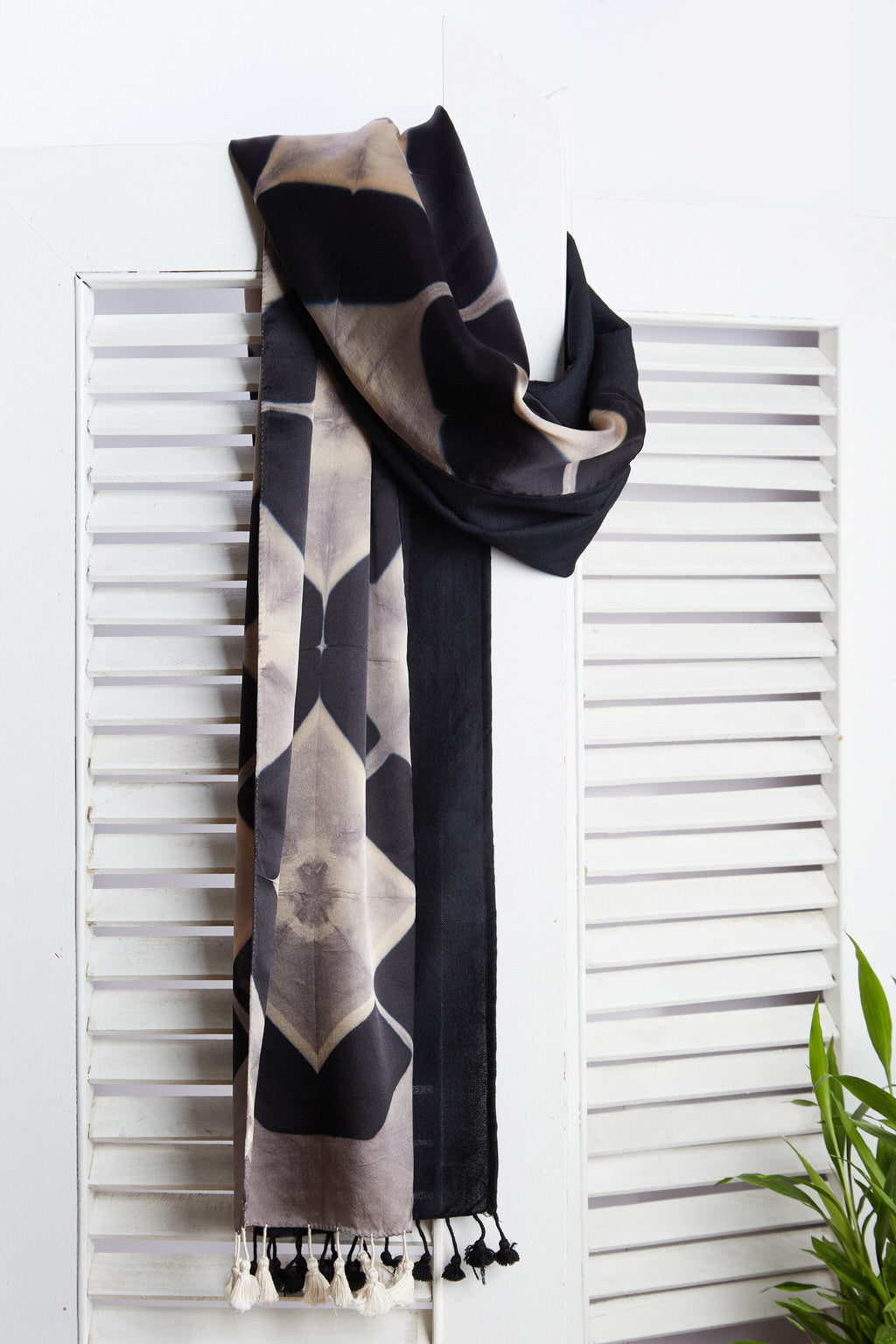 A Labour of Love - Long Black & Grey Silk Woolen Scarf
