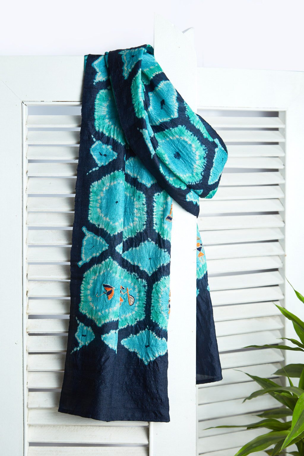 The Latticed Window - Long Navy Blue & Turquoise Silk Scarf