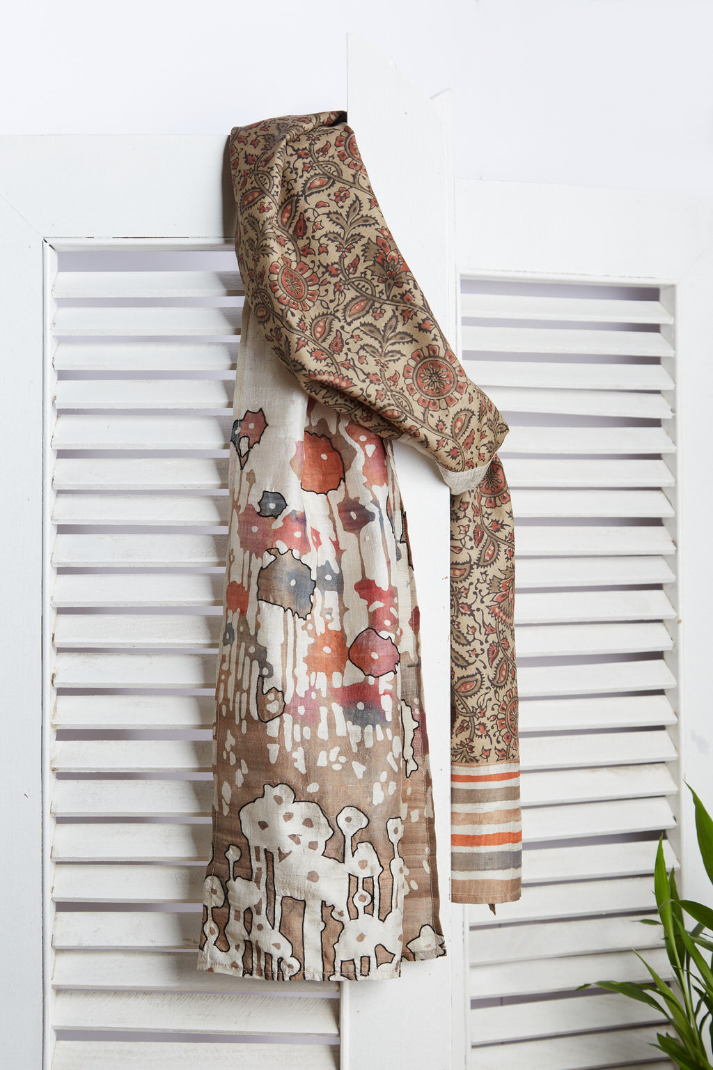 A Mystical Encounter - Long Brown Silk Scarf