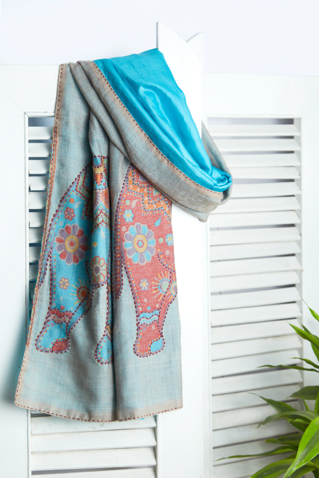 Woven Narratives - Long Multicolored Silk Woolen Scarf