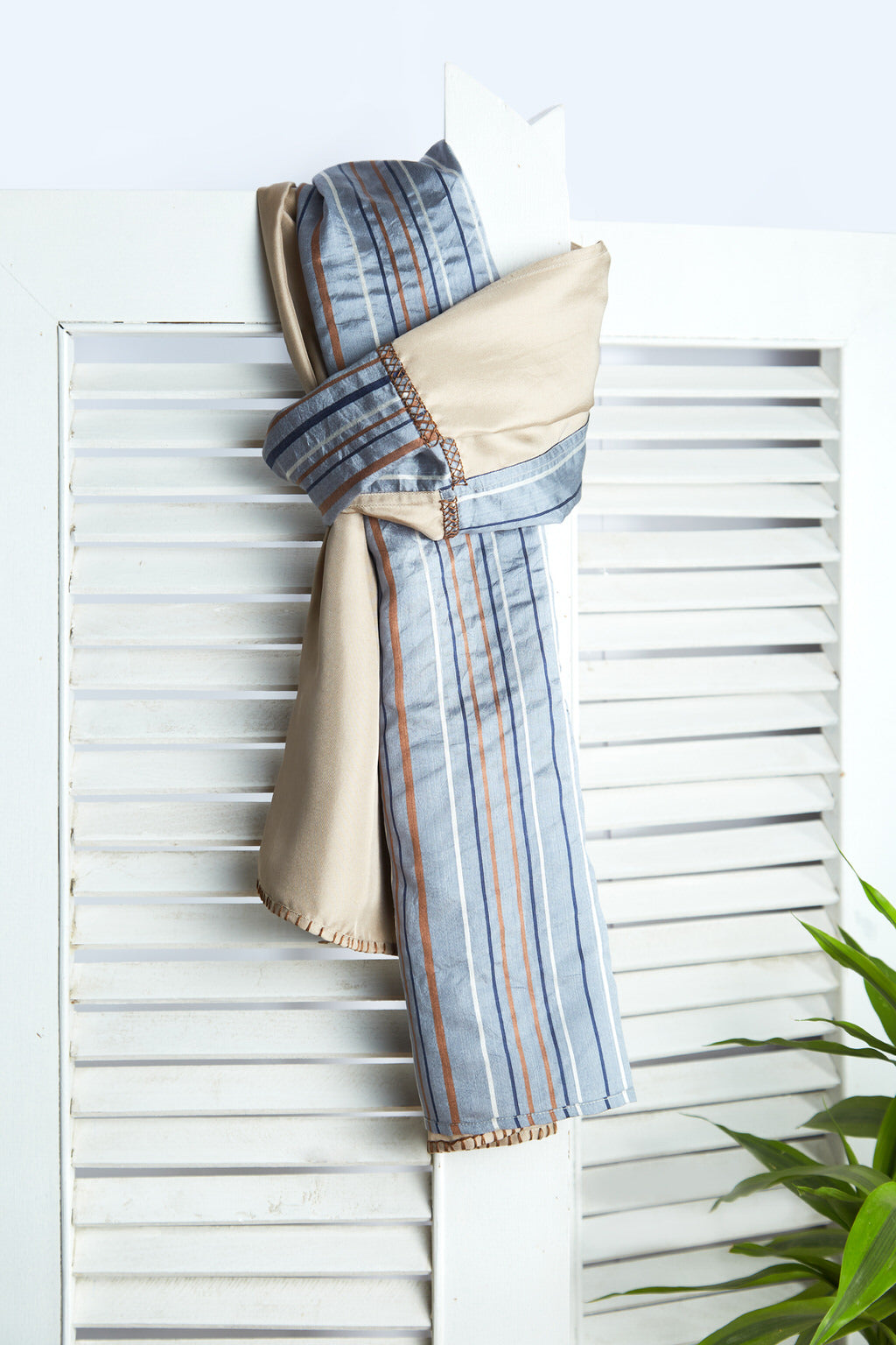A Salve for the Soul - Long Clay Beige Twill & Eri Silk Scarf