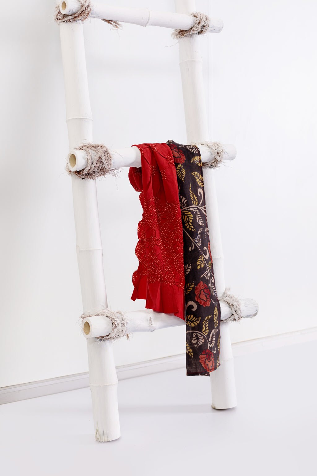 A Rare Charm - Long Rose & Black Silk Scarf