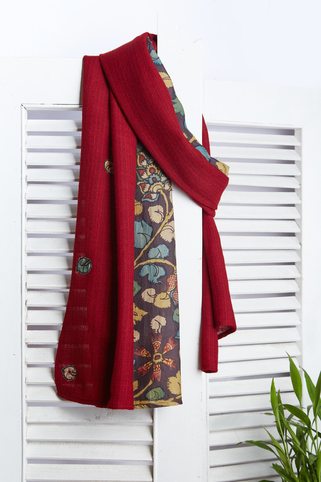 The Wool Journey - Wine Red Kalamkari Silk Woolen Face Wrap & Scarf