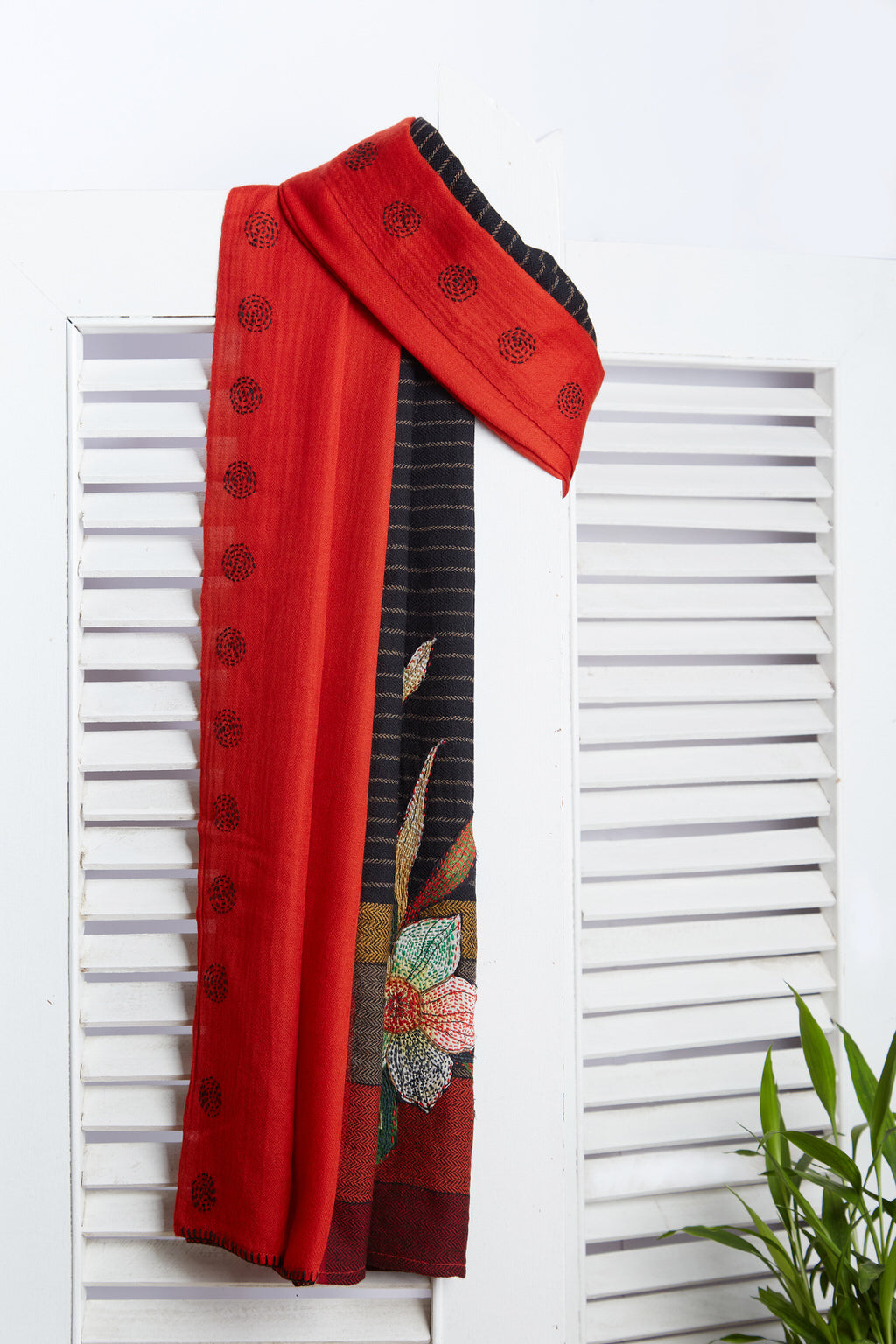 Poetry of Flowers - Long Red & Black Woolen Scarf & Face Wrap
