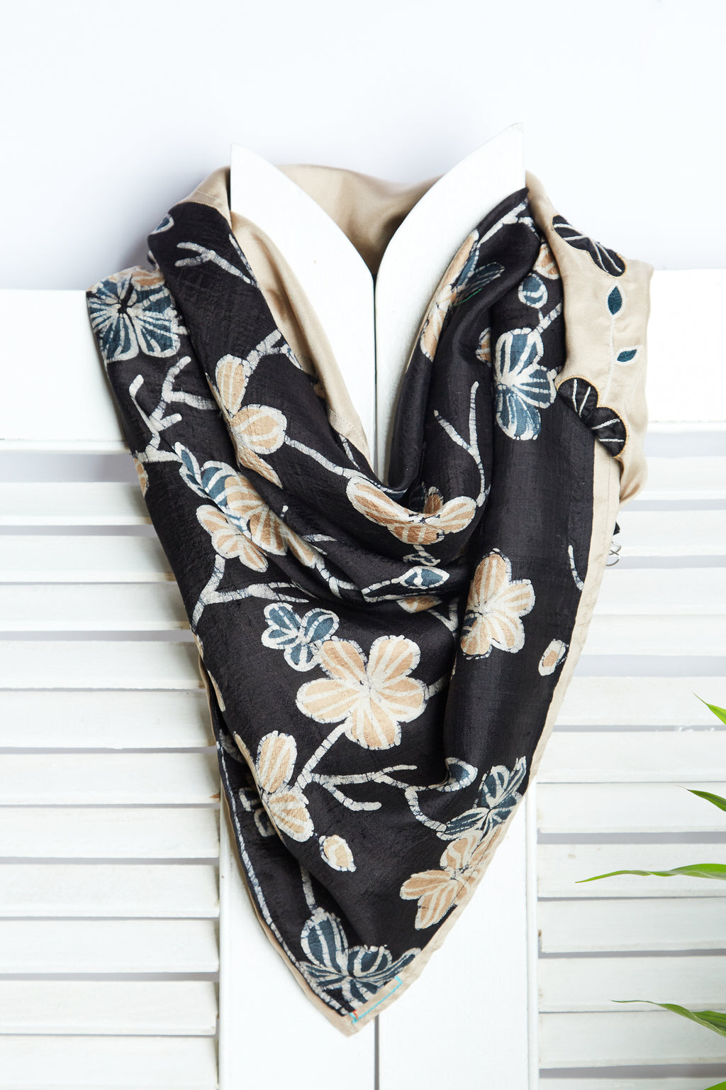 A Garden of Delight - Batik Print Beige & Black Silk Square Scarf
