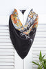 A Burst of Colors -  Batik Print Black & Orange Silk Square Scarf