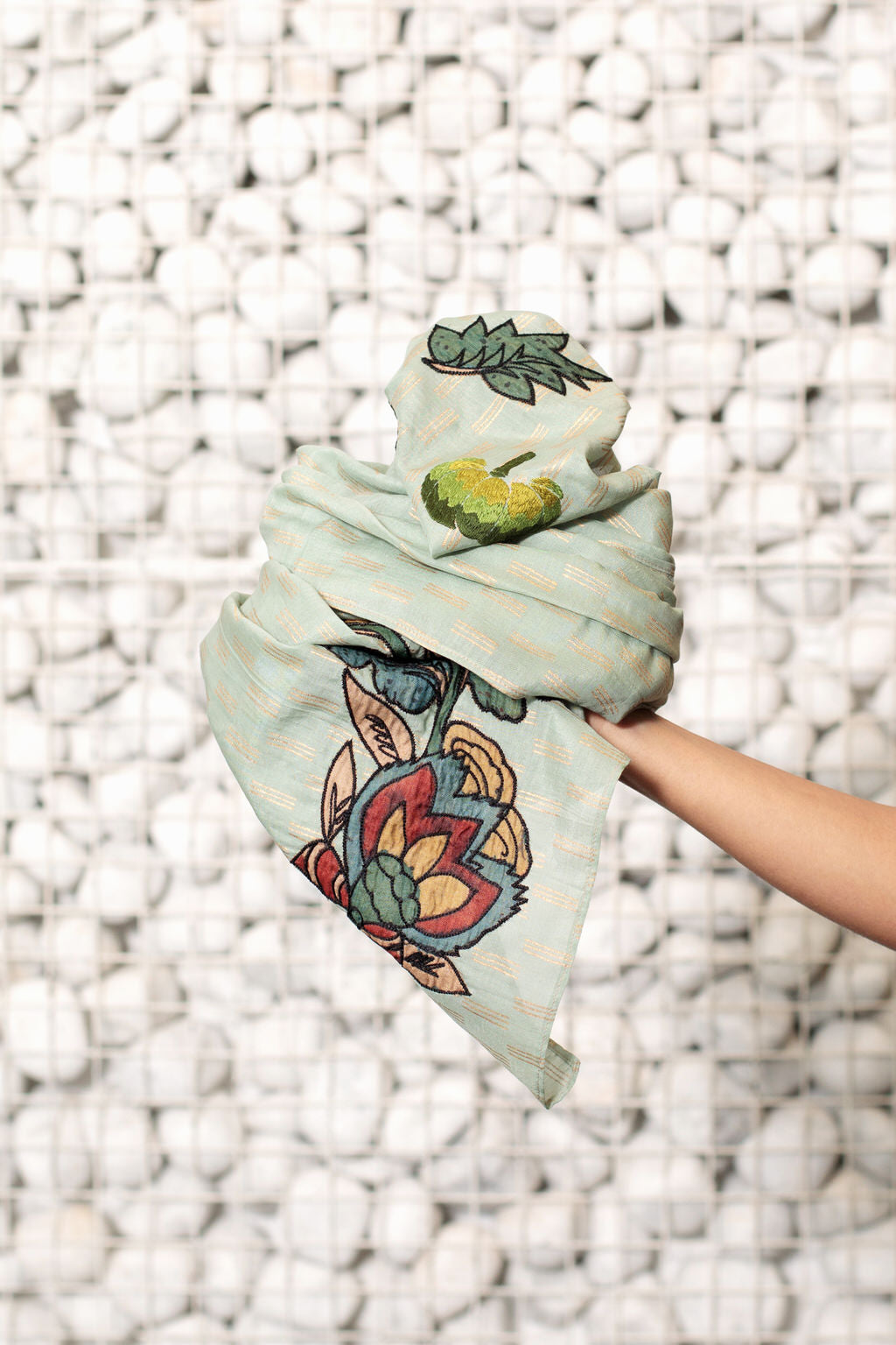Fall Musings - Long Moss Green Cotton Silk Scarf