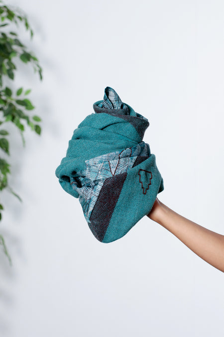 Festive Spirit - Teal & Brown Tussar Silk Woolen Square Scarf