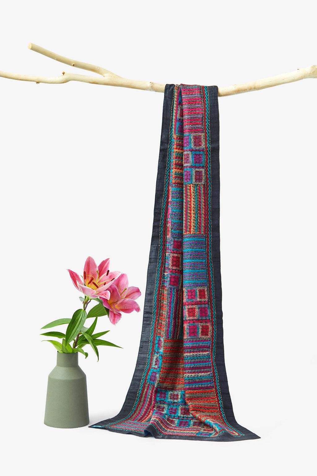 An Alchemy of Threads - Reversible - Multicolored Kantha Silk Shawl