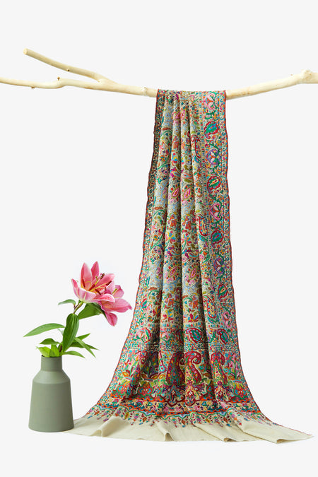 Aroma of Spring - Multicolored Embroidered Woolen Shawl