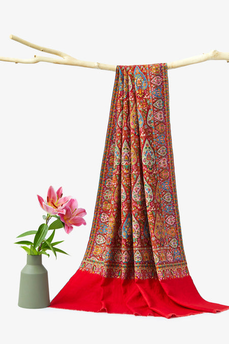 Embroidered Art - Maroon Embroidered Kashmiri Woolen Shawl