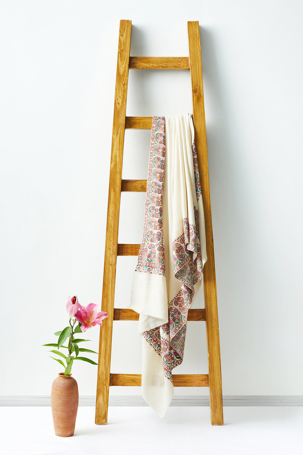 Opulence - White Embroidered Woolen Shawl