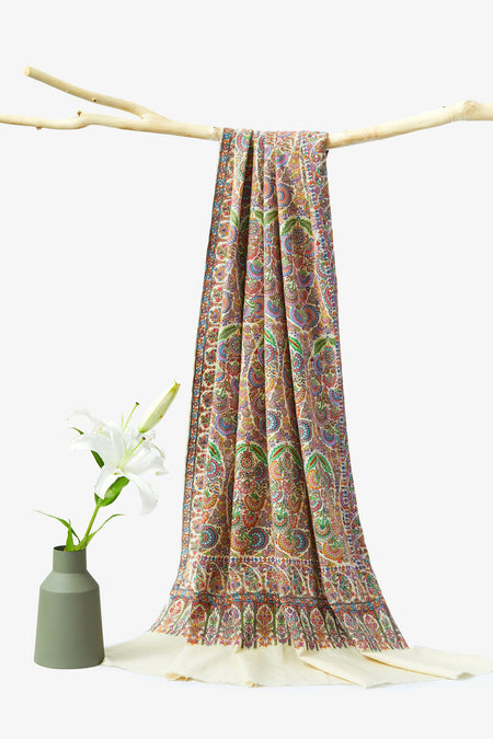 Floral Paisley - Multicolored Embroidered Woolen Shawl