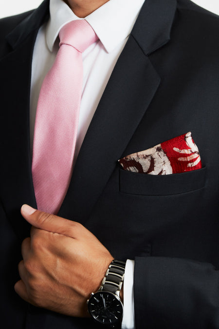 A Symbol of Good Luck - Red & White Crab Print Silk Pocket Square