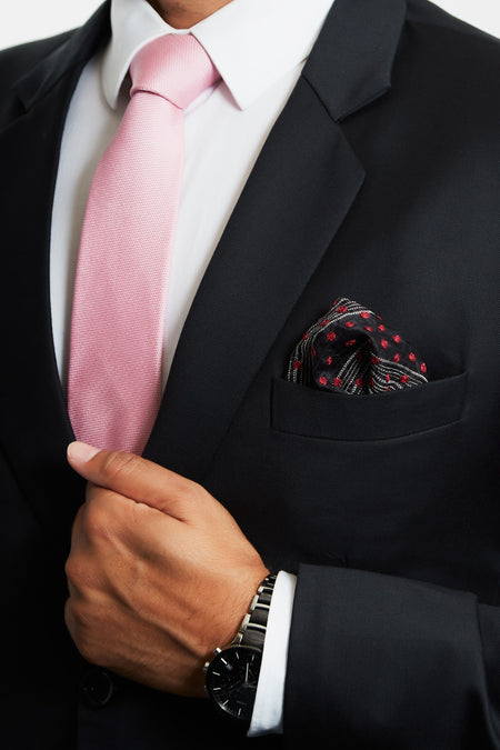 Constellation of Red Stars - Black Silk Pocket Square