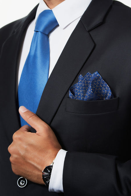 A Starry Sky - Cobalt Blue Silk Pocket Square
