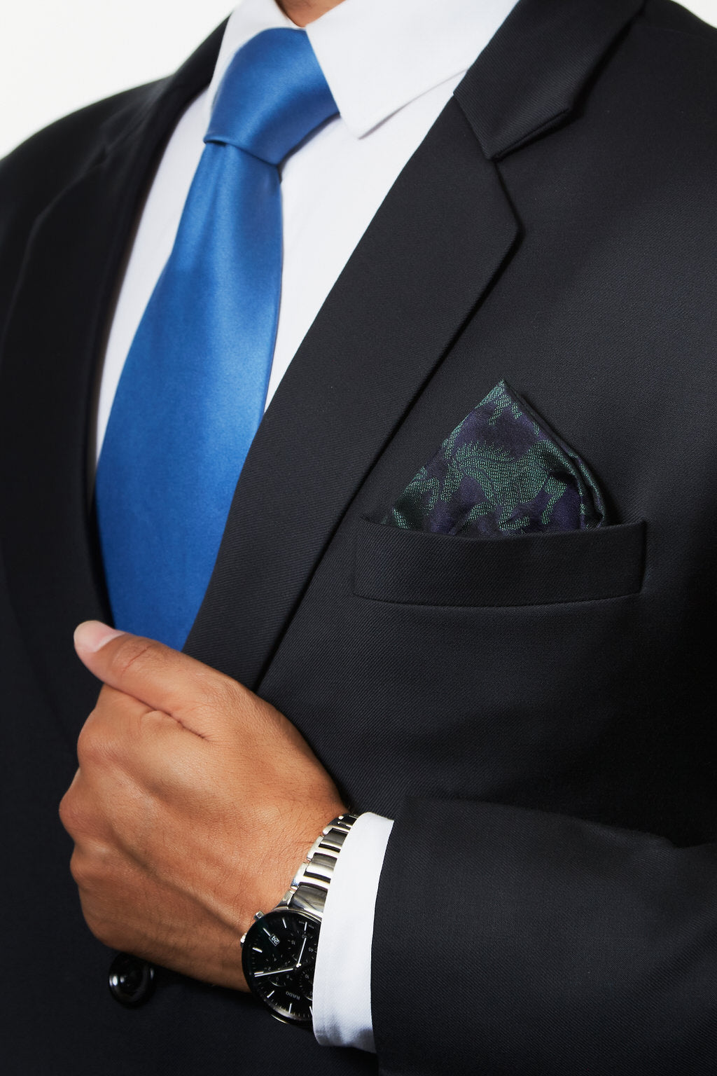 An Iconic Piece - Blue & Green Silk Pocket Square