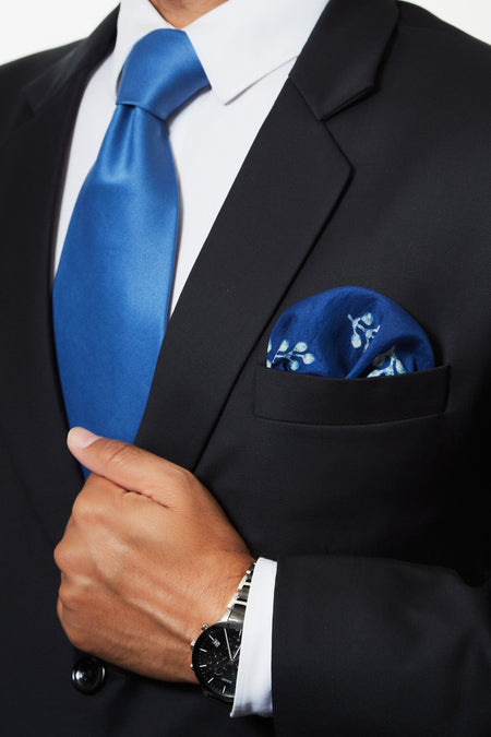 Egyptian Blue - Blue Silk Pocket Square