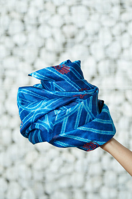 A Symbol of Hope - Blue Shibori Silk Square Scarf