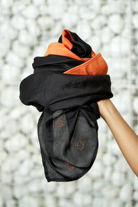 A Dotted Epiphany - Long Orange & Black Silk Woolen Scarf