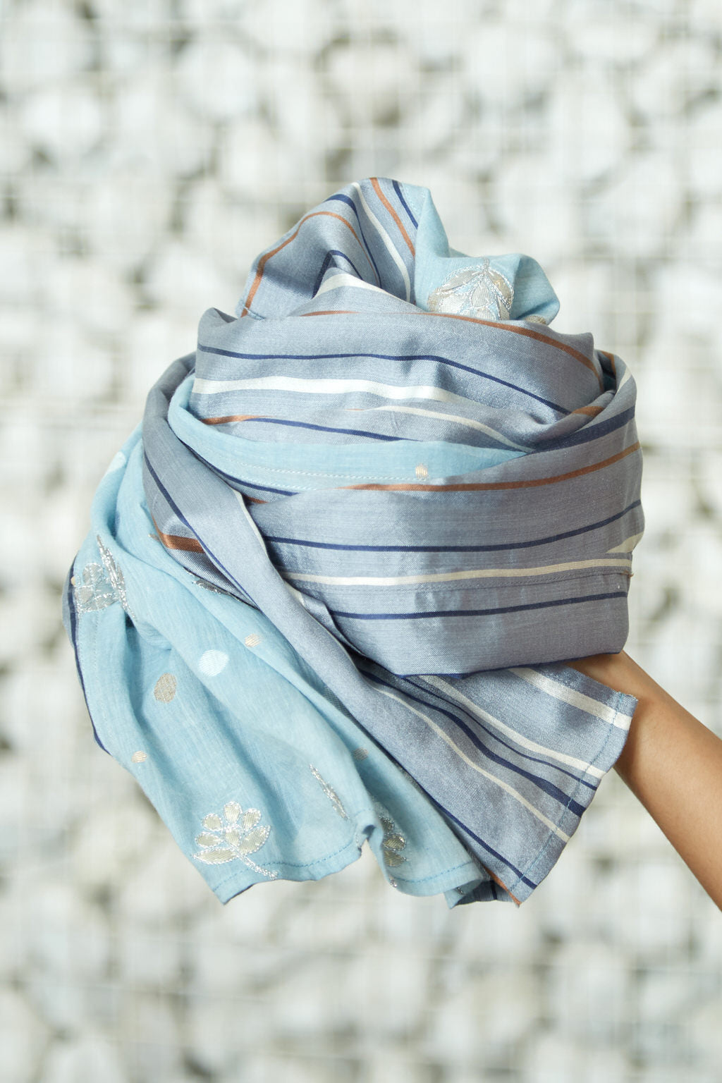 Sparkle of the Season - Long Embroidered Sky Blue Cotton Silk Face Mask Scarf