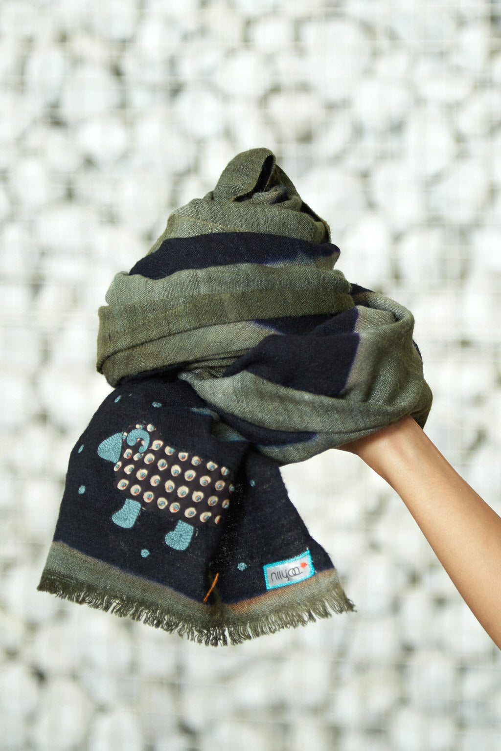 An Elegant Affair - Long Moss Green Woolen Face Wrap & Scarf