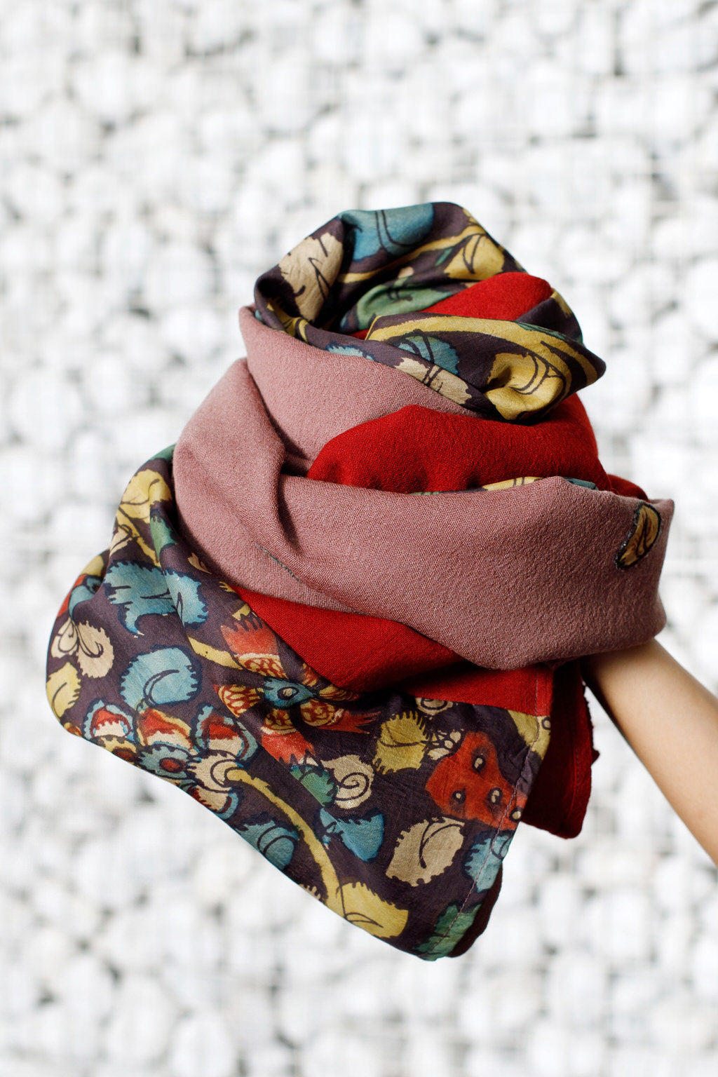 An Untold Story - Long Blush & Wine Red Silk Woolen Face Wrap & Scarf