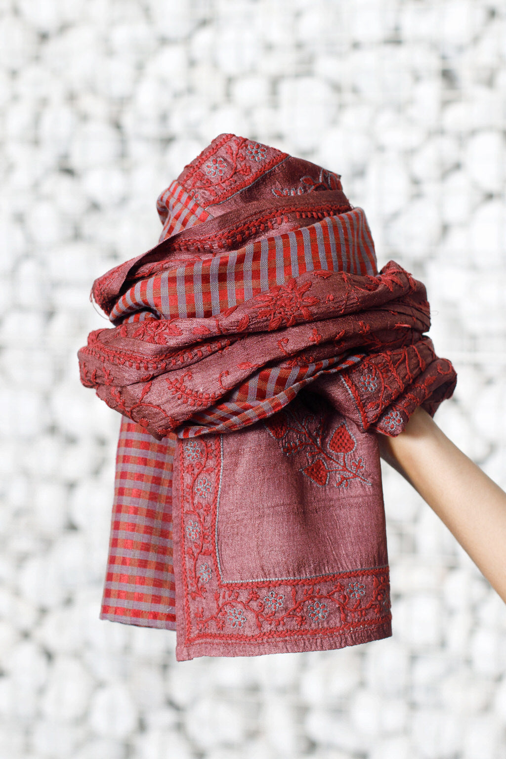 An Exotic Art - Long Embroidered Red Cotton Silk Face Mask & Scarf