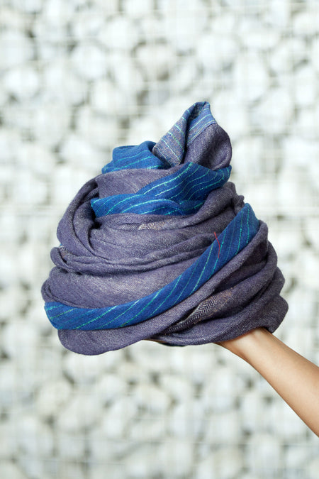 East and North - Long Blue & Grey Tussar Silk Woolen Scarf