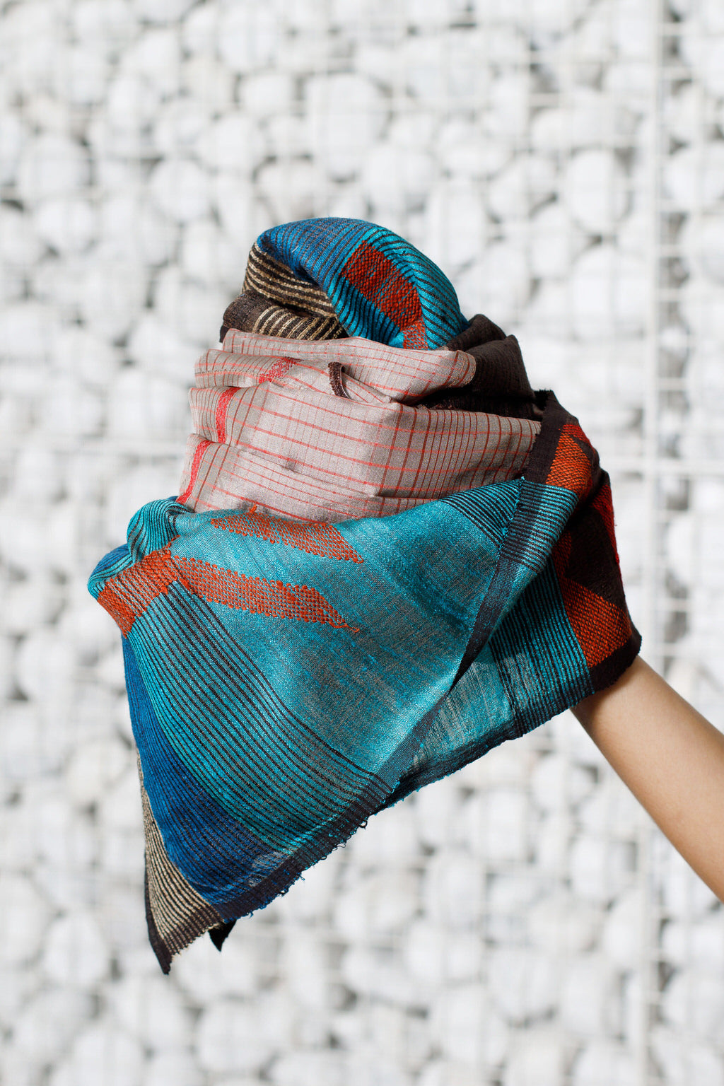 Woven Wind - Long Handwoven Jamdani Silk Scarf & Face Wrap