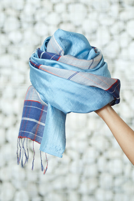Rythm of Life - Long Blue Silk Woolen Scarf