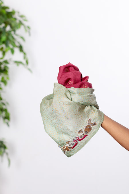 Priceless Art - Long Dark Pink & Mint Green Cotton Silk Scarf