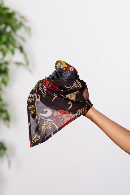 Kalamkari - Long Black & Rose Silk Scarf