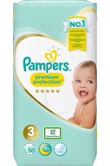 Pampers 50kpl Premium Protection S3 (6-10kg) vaippa