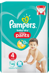 Pampers 40kpl Baby Dry Pants S4 9-15kg housuvaippa