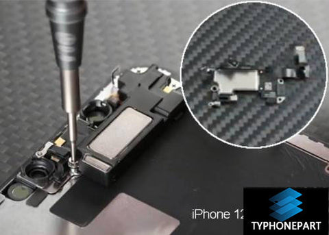 Remove the two Phillips screws and two Y screws, fix the earbud speaker, disconnect the flexible cable, and carefully remove the ear speaker from the screen