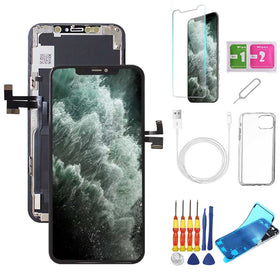 iPhone 11 Pro Screen Replacement Package + Glass Protector + Lightning Cable + Case + Repair kit