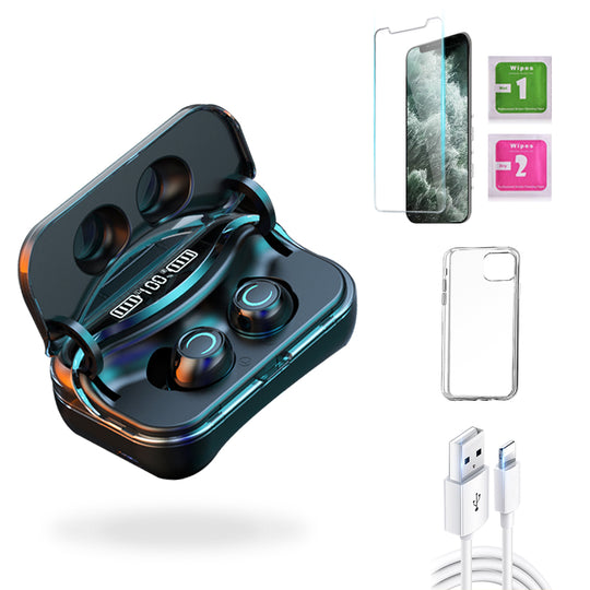 iPhone  11 Pro Accessories Package: Wireless Earbuds + Templered Glass + Phone Case + USB Cable - TYPhonePart