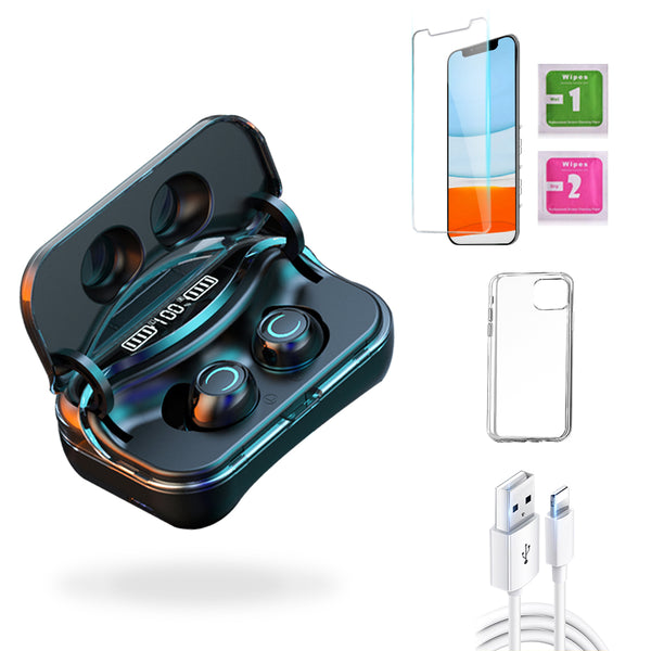 iPhone 11  Accessories Package: Wireless Bluetooth Earbuds + Templered Glass + Phone Case + USB Cable - TYPhonePart